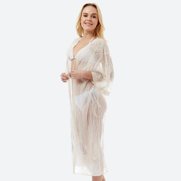 "Women's lightweight beige mesh crochet maxi kimono.  - One size fits most 0-14 - Approximately 44"" L - 100% Cotton"