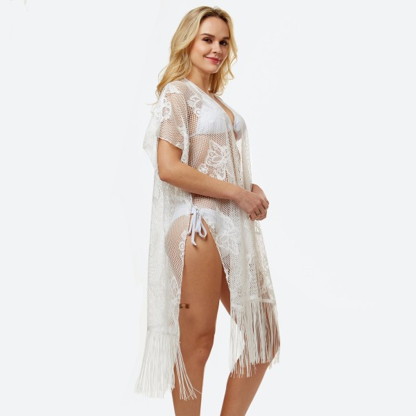 "Women's lightweight lace fringe tassel kimono.  - One size fits most 0-14 - Approximately 42"" L - 100% Polyester"