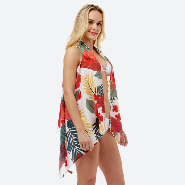 """Women's lightweight tropical floral vest kimono.  - One size fits most 0-14 - Approximately 27"""" L and 35"""" in front  - 100% Polyester"""