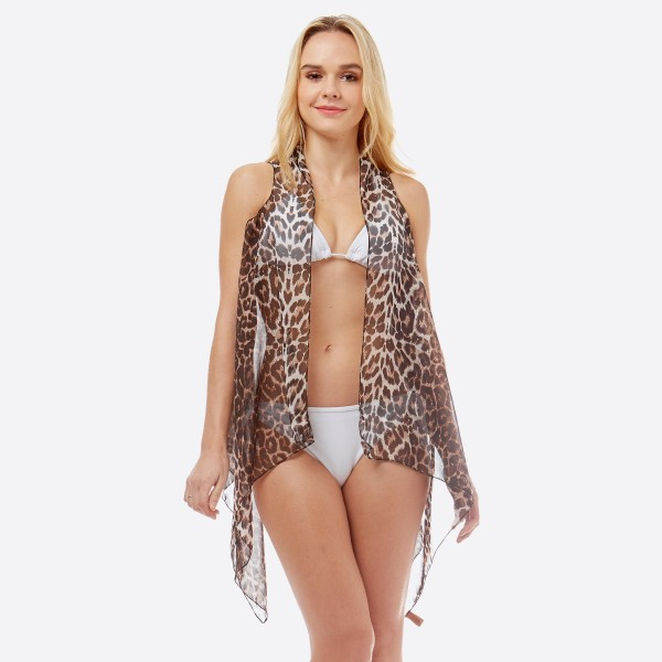 "Women's Lightweight Sheer Leopard Print Swim Suit Cover Up Vest.  - One size fits most 0-14 - Approximately 30"" L - 100% Polyester"