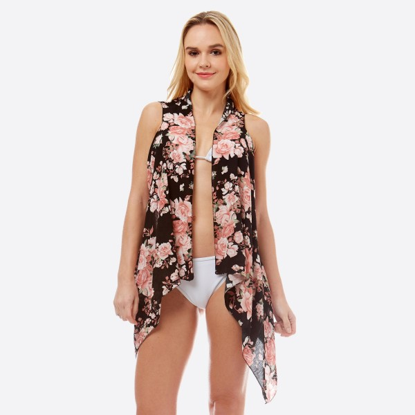 "Women's lightweight rose floral short vest kimono.  - One size fits most 0-14 - Approximately 27"" L in back and 35"" in front  - 100% Polyester"