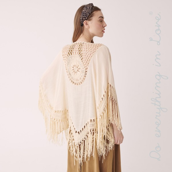 """Do everything in Love brand women's lightweight crochet tassel cardigan.  - One size fits most 0-14 - Approximately 33"""" L - 100% Polyester - Trim 100% Acrylic"""