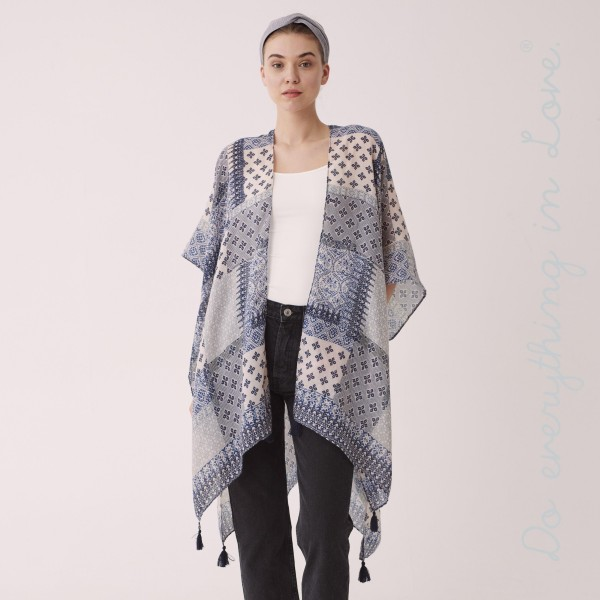 "Do everything in Love brand women's lightweight patchwork print tassel kimono.  - One size fits most 0-14 - Approximately 35"" L - 100% Polyester"