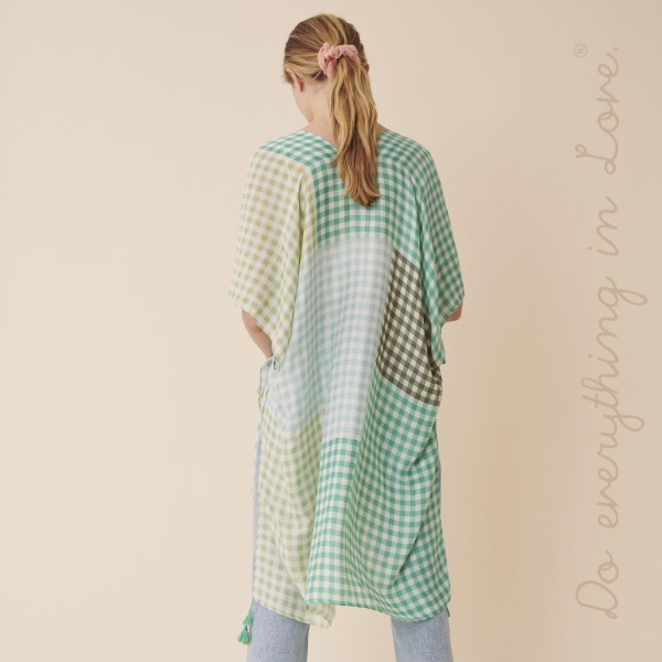 "Do everything in Love Brand Lightweight Gingham Colorblock Kimono.  - One size fits most 0-14 - Approximately 37"" L - 100% Polyester"
