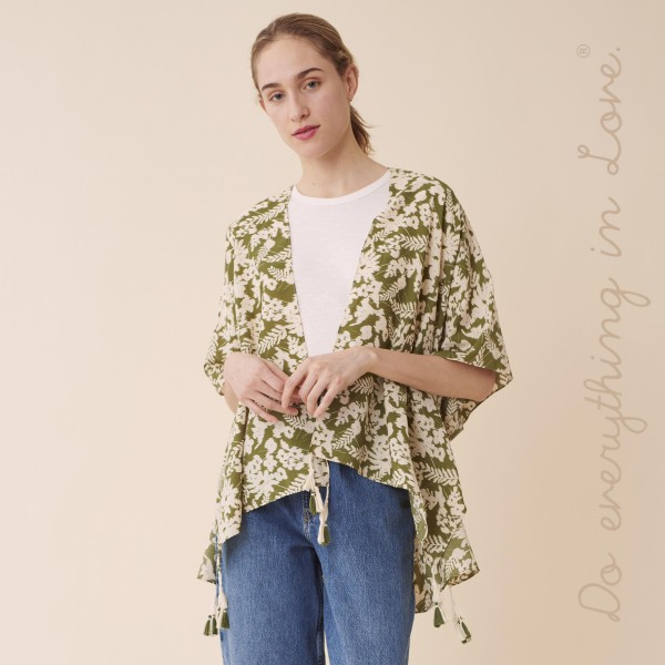 "Do everything in Love Brand Short Lightweight Floral Print Tassel Kimono.  - One size fits most 0-14 - Approximately 30"" L - 100% Polyester"