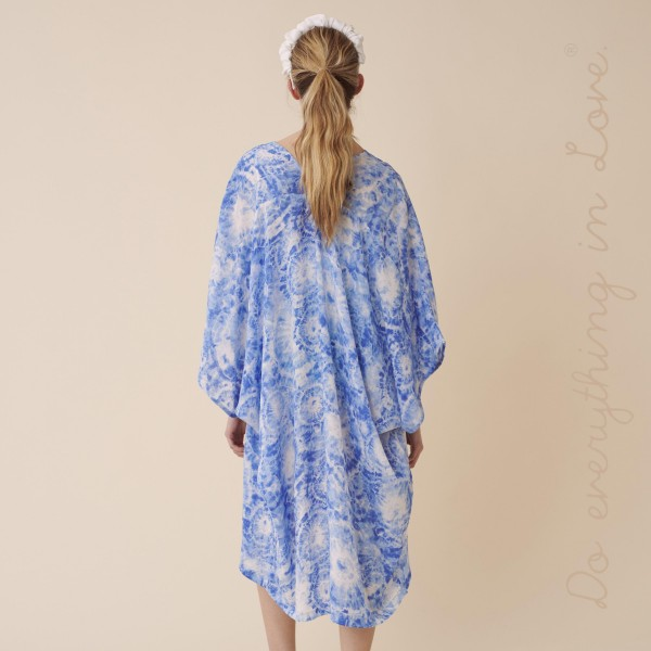 """Do everything in Love brand women's lightweight tie-dye print maxi kimono.  - One size fits most 0-14 - Approximately 43"""" L - 100% Polyester"""