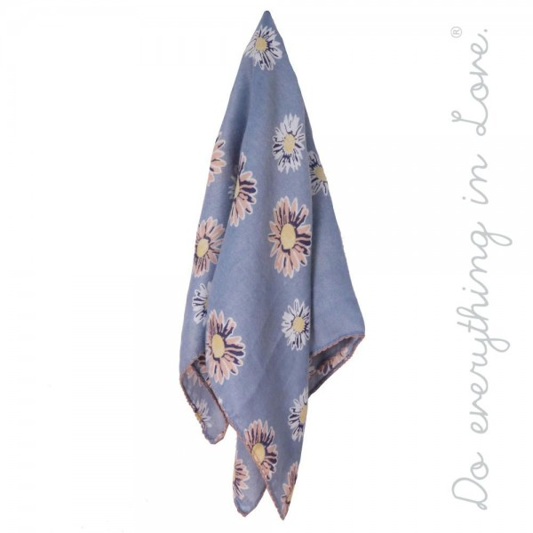 """Do everything in Love brand lightweight flower square scarf.  - Approximately 24"""" x 23""""  - 100% Polyester"""