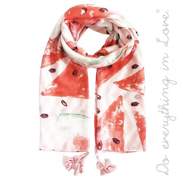 """Do everything in Love brand lightweight watermelon print tassel scarf.  - Approximately 34"""" W x 70"""" L - 100% Polyester"""