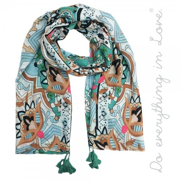 """Do everything in Love brand lightweight floral geometric tassel scarf.  - Approximately 34"""" W x 70"""" L - 100% Polyester"""