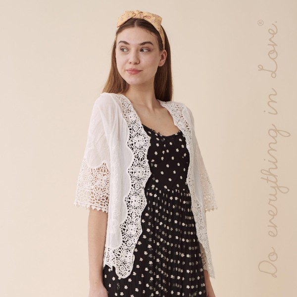 """Do everything in Love brand women's lightweight Ivory short crochet lace cardigan.  - One size fits most 0-14 - Approximately 22"""" L - 100% Cotton"""