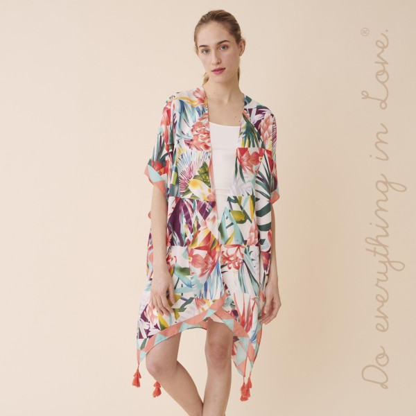 """Do everything in Love brand women's lightweight multicolor floral kaleidoscope tassel kimono.  - One size fits most 0-14 - Approximately 37"""" L - 100% Polyester"""
