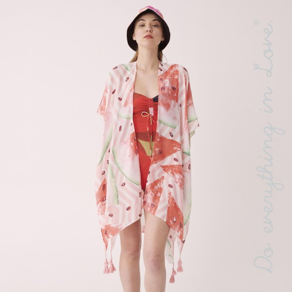 "Do everything in Love brand women's lightweight watermelon print tassel kimono.  - One size fits most 0-14 - Approximately 35"" L - 100% Polyester"