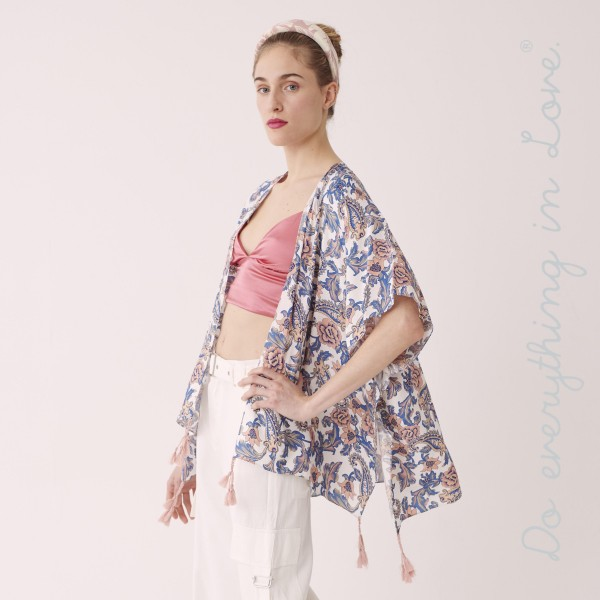 "Do everything in Love brand women's lightweight floral paisley kimono with tassels.  - One size fits most 0-14 - Approximately 35"" L - 100% Viscose"