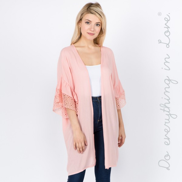 """Do everything in Love Brand Lightweight Crochet Ruffle Sleeve Kimono.  - One size fits most 0-14 - Approximately 34"""" L - 100% Viscose"""
