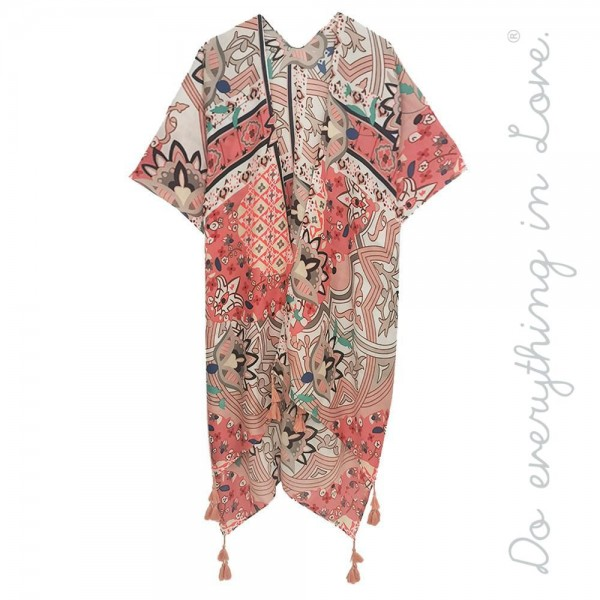 "Do everything in Love brand women's lightweight geometric floral kimono with tassels.  - One size fits most 0-14 - Approximately 37"" L - 100% Polyester"