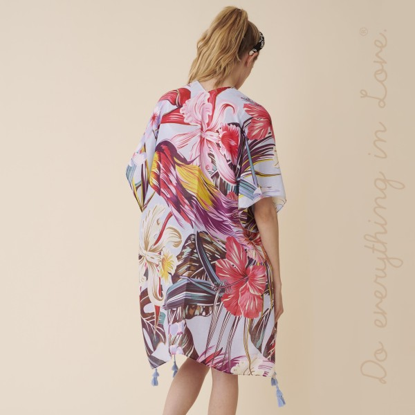 "Do everything in Love brand women's lightweight floral kimono with tassels.  - One size fits most 0-14 - Approximately 37"" L - 100% Polyester"