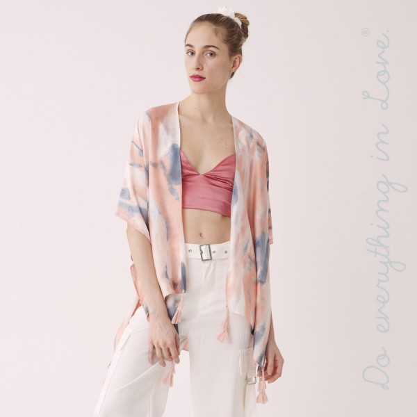 "Do everything you Love Brand Short Lightweight Satin Tie-Dye Kimono.  - One size fits most 0-14 - Approximately 29"" L - 100% Polyester"