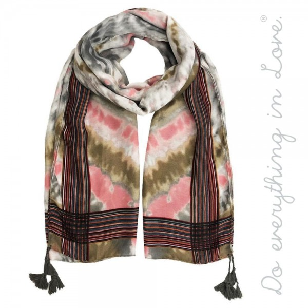 "Do everything in Love brand lightweight tie-dye print tassel scarf.  - Approximately 34"" W x 70"" L - 100% Polyester"