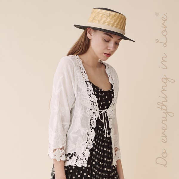 """Do everything in Love brand women's white floral crochet crop cardigan with front tie closure.  - One size fits most 0-14 - Approximately 19"""" L - 100% Cotton"""