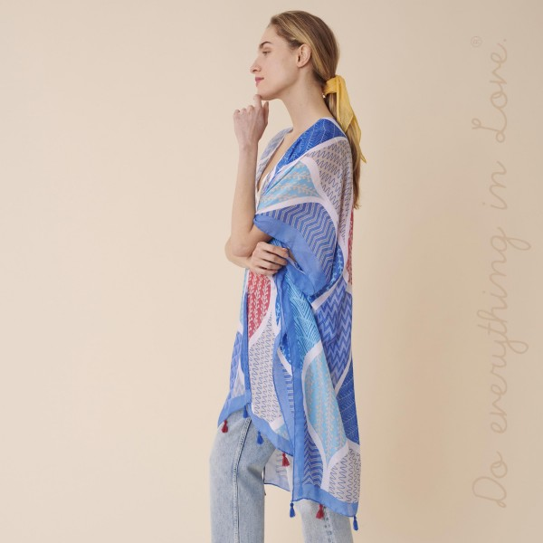 "Do everything in Love Brand Lightweight Geometric Print Tassel Kimono.  - One size fits most 0-14 - Approximately 35"" L - 100% Polyester"