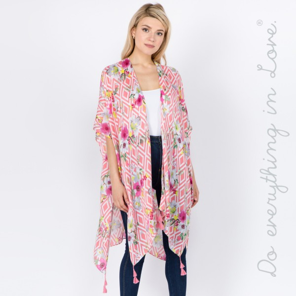 "Do everything in Love Brand Lightweight Geometric Floral Print Tassel Kimono.  - One size fits most 0-14 - Approximately 37"" L - 100% Polyester"