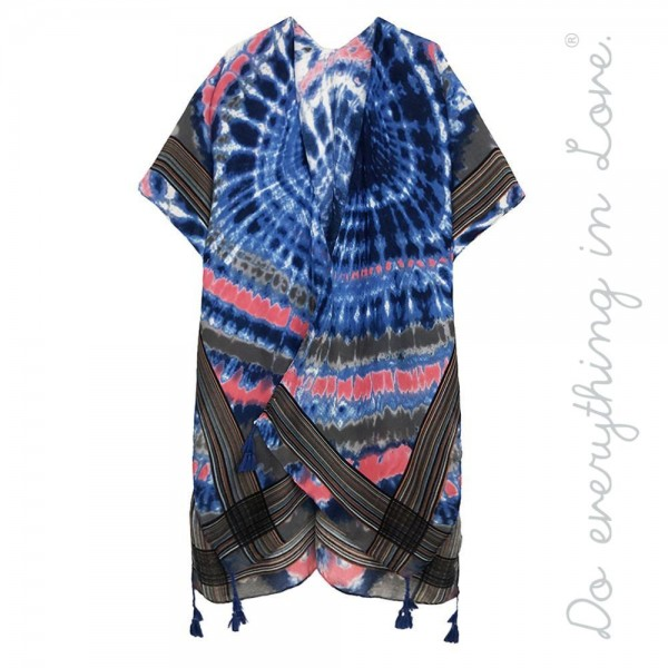 "Do everything in Love brand women's lightweight tie-dye stripe print tassel kimono.  - One size fits most 0-14 - Approximately 35"" L - 100% Polyester"