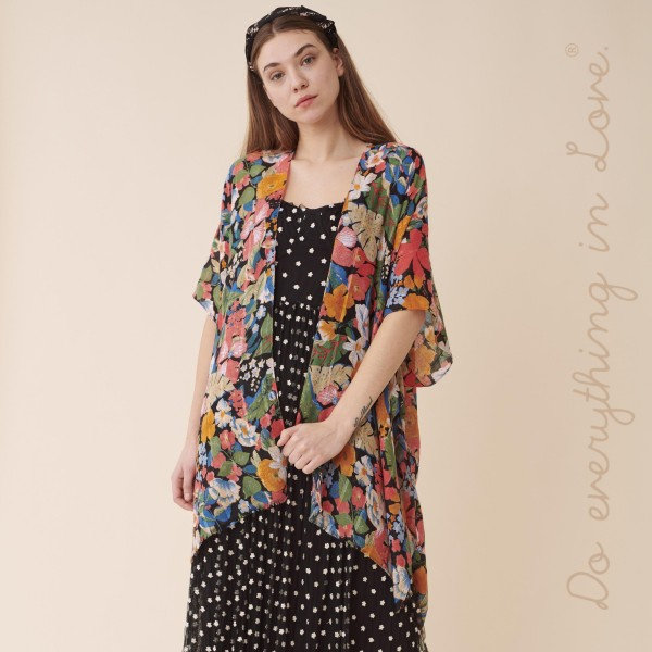 "Do everything in Love Brand Lightweight Multicolor Floral Kimono.  - One size fits most 0-14 - Approximately 37"" L - 100% Polyester"
