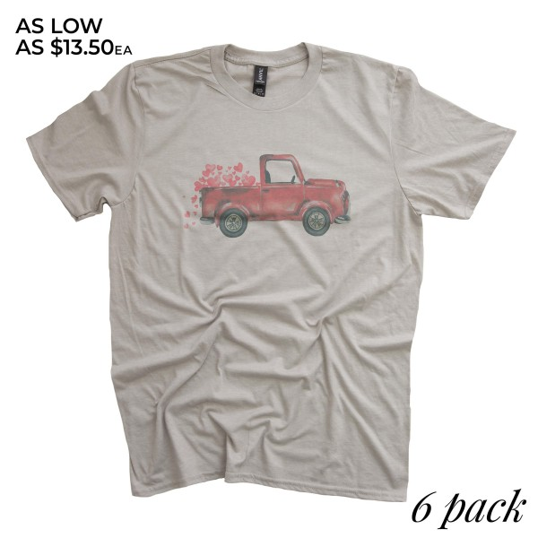 Taupe Lightweight Anvil brand Valentine truck screen printed boutique graphic tee.  - Pack Breakdown: 6pcs/pack  - Sizes: 1S / 2M / 2L / 1XL - 65% Polyester, 35% Cotton