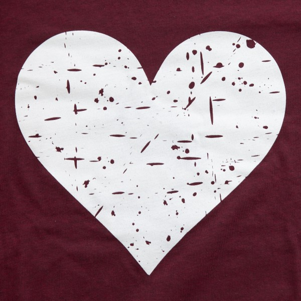 Burgundy Bella Canvas brand distressed heart screen printed boutique graphic tee.  - Pack Breakdown: 6pcs/pack - Sizes: 1S / 2M / 2L / 1XL - 52% Cotton, 48% Polyester