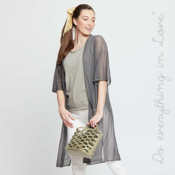 "Do everything in Love Brand Ultra Lightweight Sheer Mesh Maxi Kimono  - One size fits most 0-14 - Approximately 40"" L - 100% Polyester"