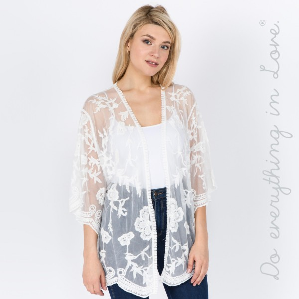 "Do everything in Love Brand Women's Short Floral Mesh Crochet Kimono.  - One size fits most 0-14 - Approximately 26"" L - 100% Cotton"