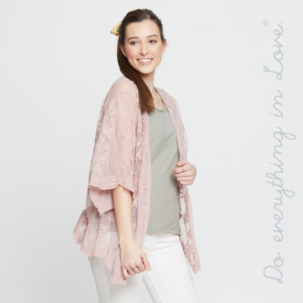 """Do everything in Love Brand Women's Short Floral Mesh Crochet Kimono.  - One size fits most 0-14 - Approximately 26"""" L - 100% Cotton"""