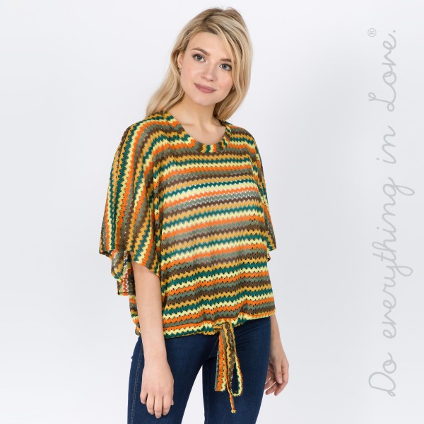 "Do everything in Love brand women's lightweight open knit zigzag crop top with front waist drawstring detail.  - One size fits most 0-14 - Approximately 22"" L - 100% Polyester"