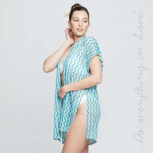 "Do everything in Love brand women's lightweight open knit zigzag kimono.  - One size fits most 0-14 - Approximately 35"" L - 100% Polyester"