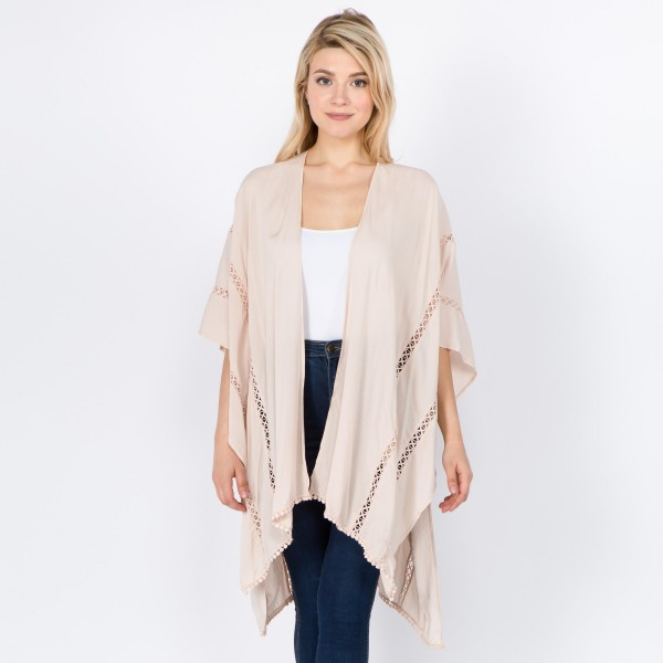 "Women's Lightweight Kimono Featuring Crochet Trim Detail.  - One size fits most 0-14 - Approximately 32"" L - 100% Viscose"