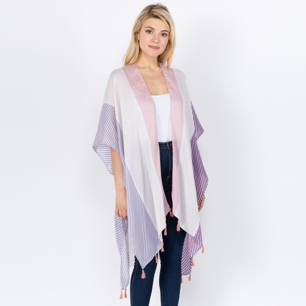 "Women's Lightweight Geometric Stripe Tassel Kimono.  - One size fits most 0-14 - Approximately 37"" L - 100% Polyester"