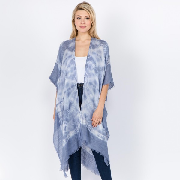 "Women's lightweight tie-dye kimono with frayed edges.  - One size fits most 0-14 - Approximately 40"" L - 100% Viscose"