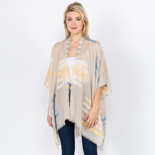 "Women's Lightweight Geometric Stripe Kimono.  - One size fits most 0-14 - Approximately 33"" L - 100% Polyester"