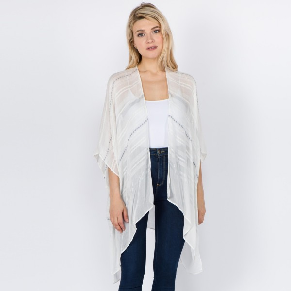 "Women's lightweight metallic stripe embroidered short kimono.  - One size fits most 0-14 - Approximately 29"" L - 95% Viscose, 3% Acrylic, 2% Lurex"