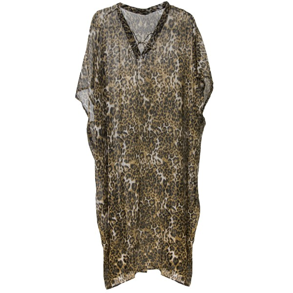 "Women's Lightweight Sheer Leopard Print Maxi Cover Up Top with V-Neck Tie Detail.  - One size fits most 0-14 - Approximately 50"" L - 100% Polyester"