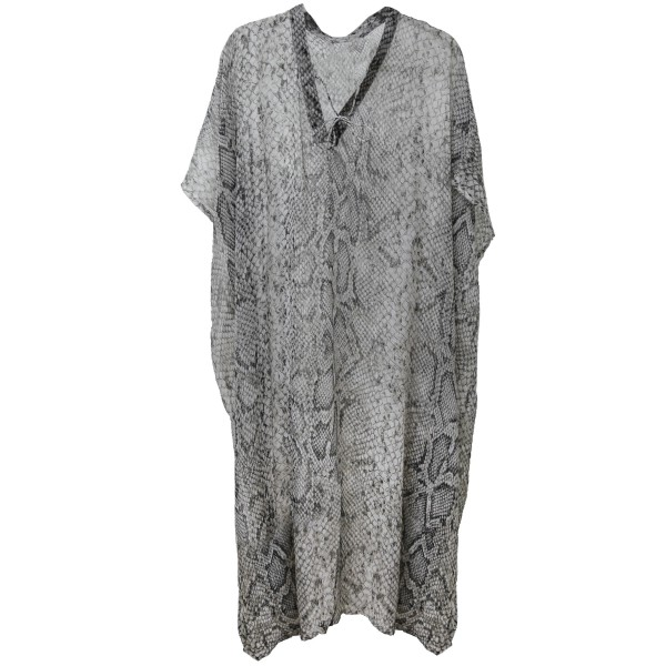 "Women's Lightweight Sheer Snakeskin Maxi Cover Up Top with V-Neck Tie Detail.  - One size fits most 0-14 - Approximately 50"" L - 100% Polyester"