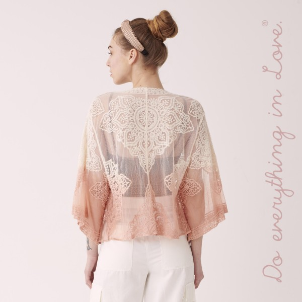 """Do everything in Love Lightweight Ombre Lace Kimono.  - One size fits most 0-14 - Approximately 19"""" L - 50% Cotton, 50% Nylon"""