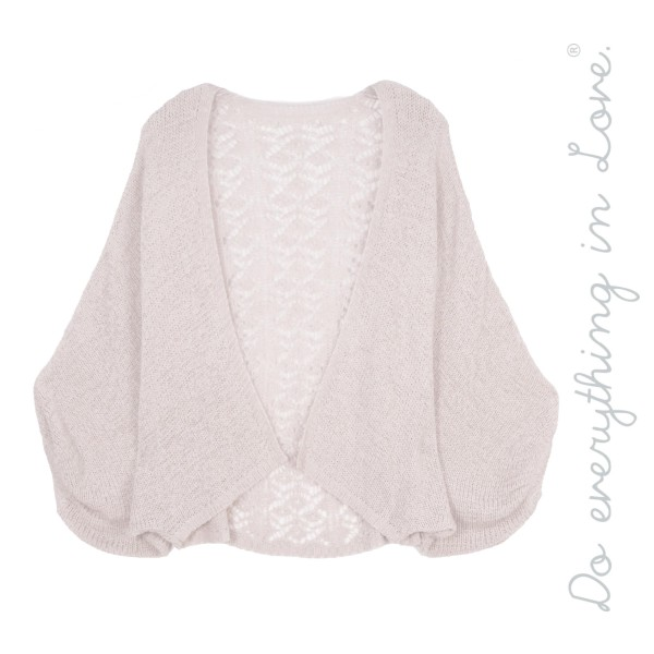 "Do everything in Love brand women's lightweight crochet lace back short cardigan with balloon sleeves  - One size fits most 0-14 - Approximately 20"" L - 60% Acrylic / 40% Nylon"