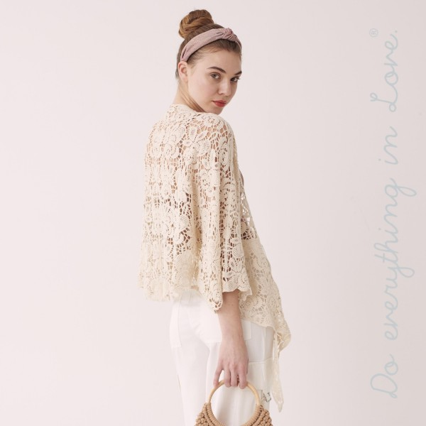"Do everything in Love brand women's lightweight short crochet cardigan with front tie detail.  - One size fits most 0-14 - Approximately 22"" L - 100% Cotton"