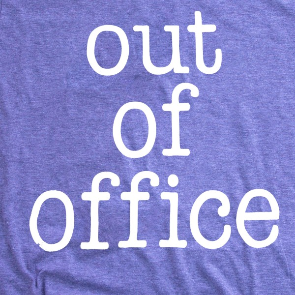 """Purple Bella Canvas brand short sleeve """"Out of Office"""" screen printed boutique graphic tee.  - Pack Breakdown: 6pcs/pack - Sizes 1S / 2M / 2L / 1XL - 52% Cotton, 48% Polyester"""