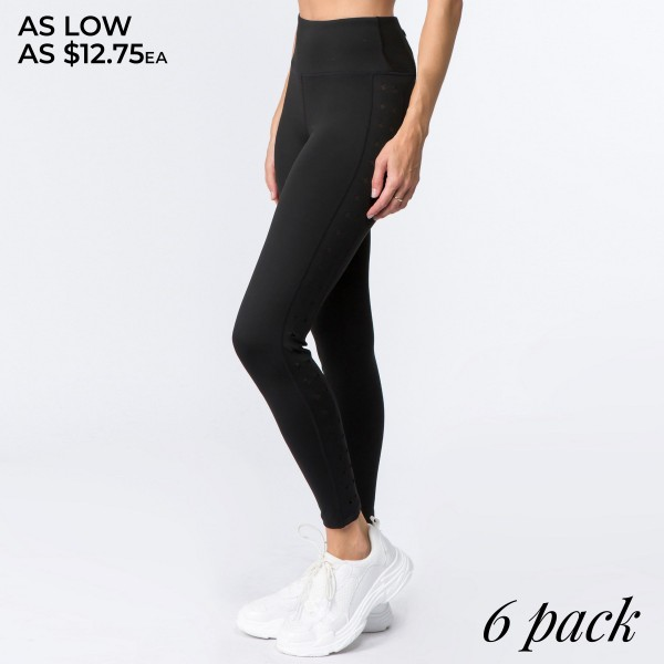 """Women's Black Full-Length Star Cut Out Active Leggings.  • High rise waistband with back zipper pocket for loose items • Star cut out design on the side • 4-way stretch for a move with you feel • Fits like a glove • Moisture wick fabric • Full length design • Flat lock seams prevent chafing • Triangular Cotton Gusset Lining • Perfect for all low-high impact workouts • Imported  - Pack Breakdown: 6pcs/pack - Sizes: 2-S / 2-M / 2-L - Inseam approximately 29"""" L - 83% Nylon, 13% Spandex"""
