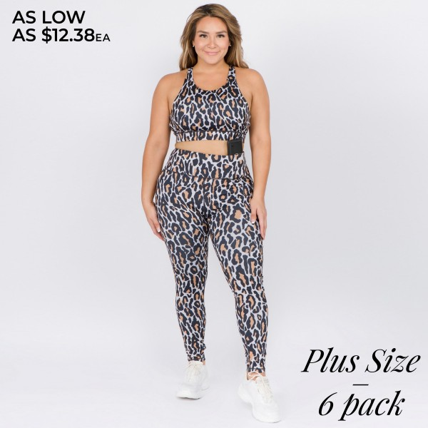"Women's Active XL Leopard Print Workout Leggings.  • High rise elasticized waistband • Leopard print throughout • Fits like a glove • Second skin fit and feel • 4 way stretch for a move with you feel • Moisture wick fabric • Full length design • Flat lock seams prevent chafing • Triangular Cotton Gusset Lining • Great for all low-high impact workouts • Imported  - Pack Breakdown: 6pcs/pack - Sizes: ALL XL  - Inseam approximately 28"" L - 46% Polyester / 41% Nylon / 13% Spandex"