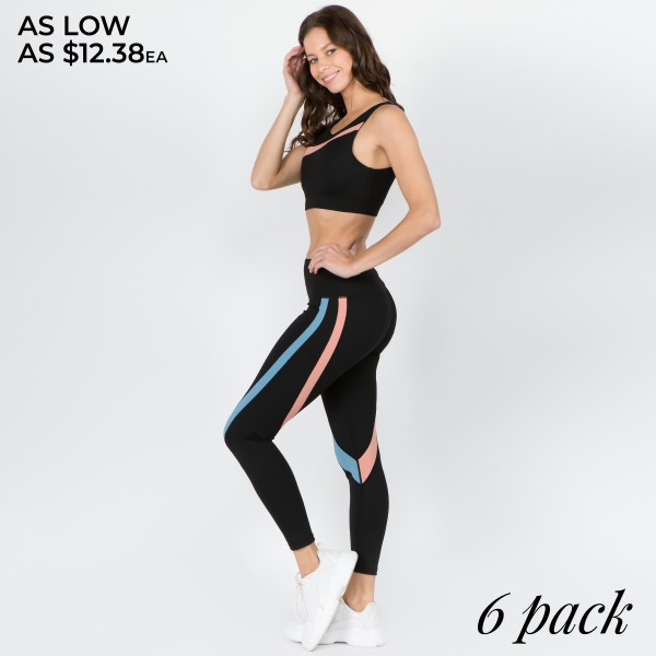 """Women's Active Curved Stripe Workout Leggings.  • High rise elasticized waistband features hidden pocket for loose items • Curved striped detail throughout • Fits like a glove • 4 way stretch for more movement • Moisture wick fabric • Full length design • Pull on/off styling • Perfect for all low-high impact workouts • Imported  - Pack Breakdown: 6pcs/pack - Sizes: 2-S / 2-M / 2-L  - Inseam approximately 29"""" L - 83% Nylon, 13% Spandex"""