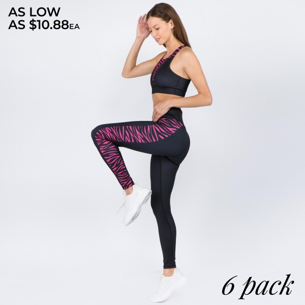 "Women's Active Zebra Stripe Workout Leggings.  • High rise waistband with hidden pocket for keys, cash, phone • Zebra side striped panel • 4 way stretch for a move with you feel • Full length design • Fits like a glove • Moisture wick fabric • Flat lock seams prevent chafing • Triangular Cotton Gusset Lining • Perfect for any low-high impact workout • Imported  - Pack Breakdown: 6pcs/pack - Sizes: 2-S / 2-M / 2-L - Inseam approximately 29"" L - 46% Polyester, 41% Nylon, 13% Spandex"
