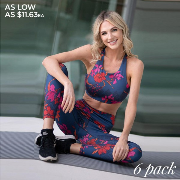 """Women's high rise botanical floral athletic leggings.  • High rise elasticized waistband with hidden pocket for loose items • Botanical floral pattern throughout • Fits like a glove • 4-way stretch for more movement • Moisture wick fabric • Flat lock seams prevent chafing • Triangular Cotton Gusset Lining • Pull on/off styling • Imported  - Pack Breakdown: 6pcs/pack - Sizes: 2-S / 2-M / 2-L - Inseam approximately 27"""" L - 46% Polyester, 41% Nylon, 13% Spandex"""